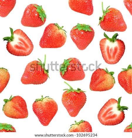 Abstract background with red fresh strawberryes. Isolated on white. Seamless pattern for your design. Close-up. Studio photography.