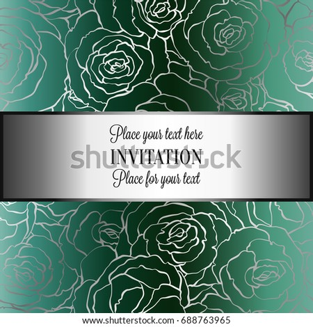Abstract Background With Roses Luxury Royal Emerald Green And Gold Vintage Frame Victorian Banner