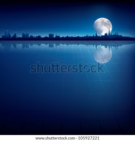 abstract background with silhouette of city and big moon