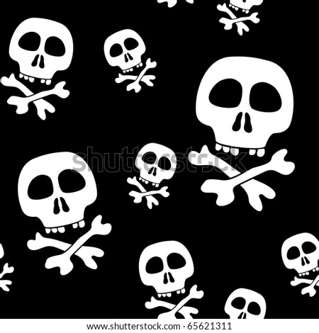 Abstract background with skulls. Seamless pattern. Raster illustration.