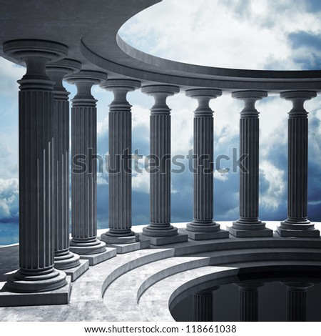 abstract background with sky and Old columns is ancient style. High resolution Realistic 3D illustration