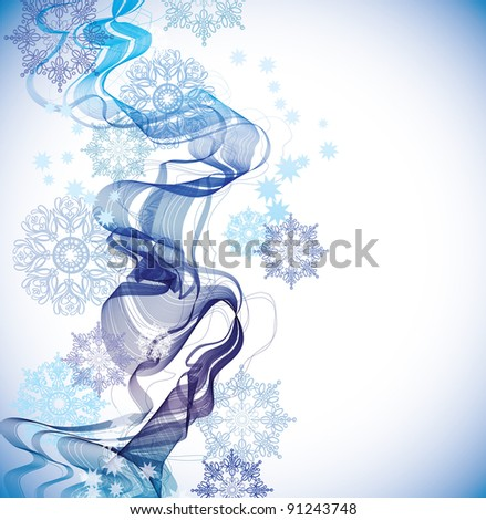Abstract Background with snowflakes and waves