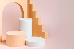 Abstract background with various geometrical forms and  podiums in pastel color for product presentation. Podium to show cosmetic products.