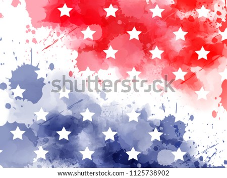 Abstract background with watercolor splashes in flag colors for USA. Template background for national holidays - Independence day, Memorial day, Labor day etc. Blue and red colored with stars.