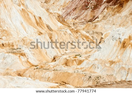Abstract background with white limestone in a industrial quarry