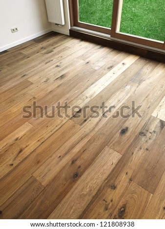 Abstract Background Wooden Floor Boards, there is a path for windows