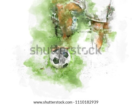 Abstract Ball player and ball on grass watercolor painting background.