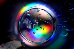 Abstract ball with spectrum colors and air bubbles. Colorful abstract circle with bubbles. Abstract sphere in rainbow vivid color background.