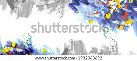 Abstract banner modern art background in minimalizm style with yellow spot, red drops and blue brush splashes. Stok fotoğraf ©