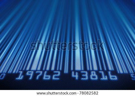 Abstract bar code design - 3d render on detail pixellated screen