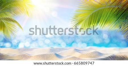Abstract Beach Background - Sunny Sand And Shiny Sea At Shadows Of Palm Tree  #665809747
