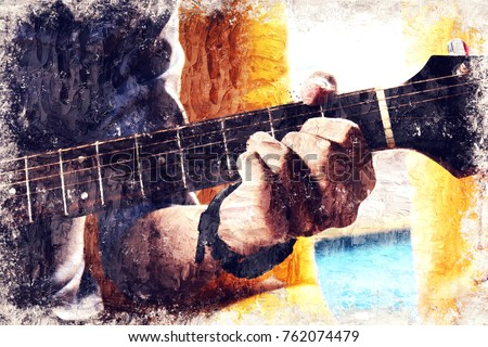 Abstract beautiful a man playing Guitar in the foreground on oil Watercolor painting background and Digital illustration brush to art.