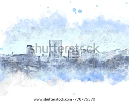 Abstract beautiful Building in capital on watercolor painting background. City on Digital illustration brush to art.