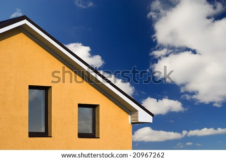abstract beautiful house under blue sky