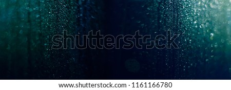 Abstract Beautiful panoramic Navy Blue bokeh lights Background With Copy Space. Wide Angle Horizontal Wallpaper or Web banner #1161166780