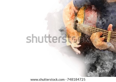 Abstract beautiful playing Guitar in the foreground on Watercolor painting background and Digital illustration brush to art.