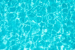 Abstract beautiful ripple wave and clear turquoise water surface in swimming pool, Turquoise or blue water wave for background and abstract