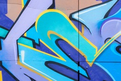 Abstract beautiful street art colorful graffiti style closeup. concept of modern design, iconic urban culture youth