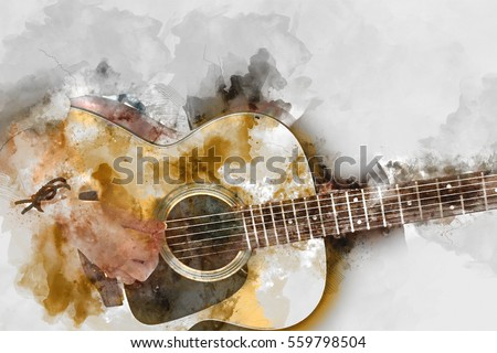 Abstract beautiful woman playing Guitar in the foreground Watercolor painting background.
