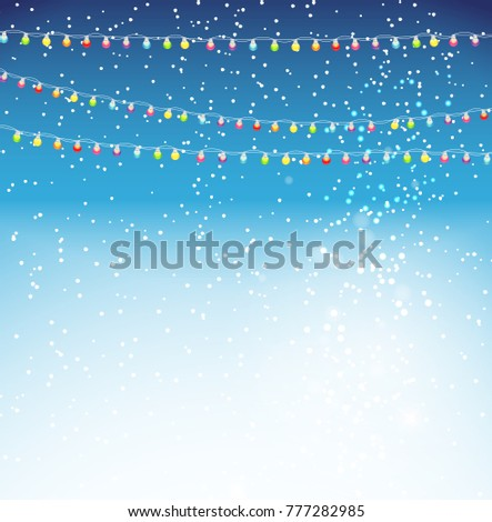 Abstract Beauty Christmas and New Year Background with Garland Bulb Lights and Falling Snow.  Illustration.
