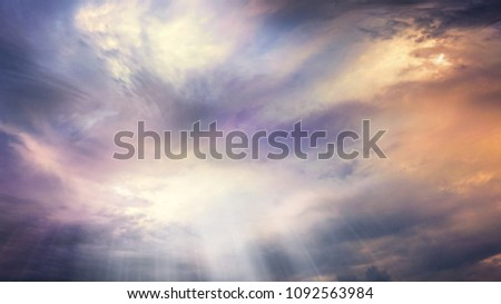 Abstract big explosion .  Light from sky . Religion background . beautiful cloud . background sky at sunset and dawn  #1092563984