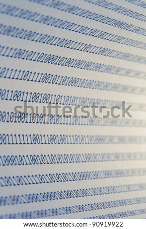 Abstract binary code, shallow depth of field