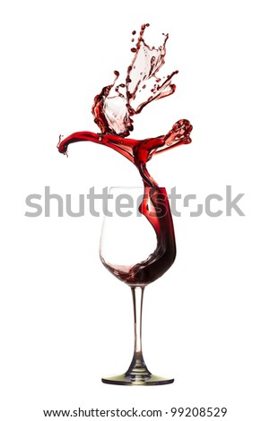 Abstract bird from red wine splashing.