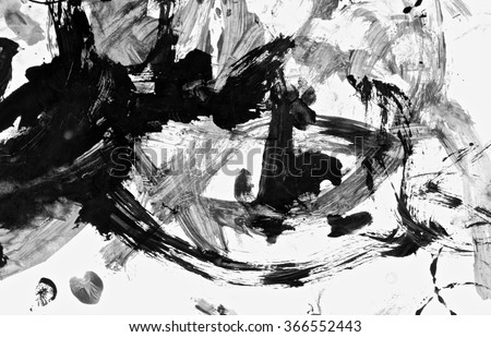 Abstract black acrylic paint brush isolated on white background, top view.