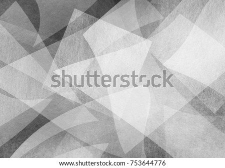 abstract black and white background, curved layers of light gray material in random overlapping pattern, intersecting angles, triangles and rectangle shapes in wavy design