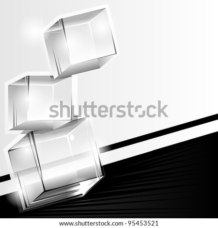 Abstract black and white background with three transparent cubes