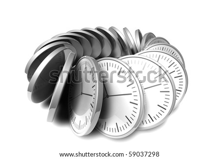 abstract black and white chrome clock on white background