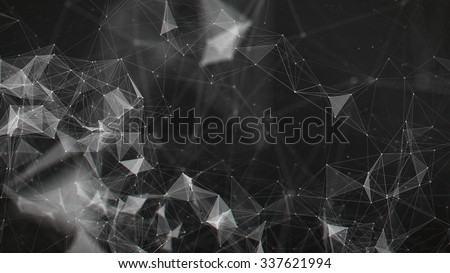 Abstract black and white digital background with cybernetic particles