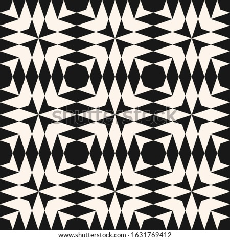 Abstract black and white geometric seamless pattern. Raster monochrome texture with diamond shapes, triangles, repeat tiles. Simple background in tribal ethnic style. Repeated design for decor, fabric