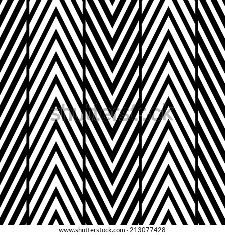 Abstract Black and White Herringbone Illusion Seamless Pattern. Line appears to tilt.