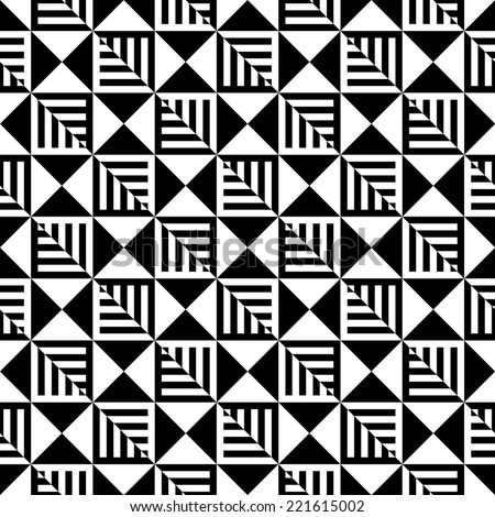 Abstract Black and White Illusion Seamless Pattern. Line appears to tilt.