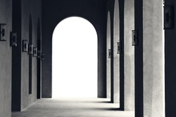 Abstract Black and White image of Architecture of Arch walkway or pathway in Roman design.