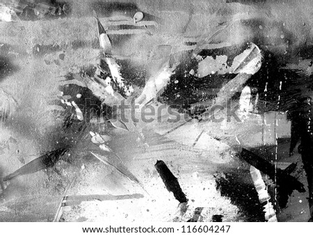 Abstract black and white painting on grunge paper texture.