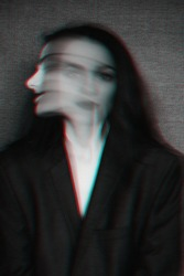 abstract black and white portrait of a girl with mental disorders and glitch effect with blur