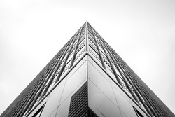 abstract black and white reflective glass skyscraper