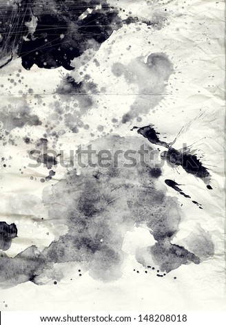 Abstract black and white watercolor background on grunge paper texture