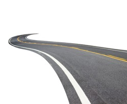 Abstract black asphalt winding Road transport with white and yellow line isolated on white background. This has clipping path.
