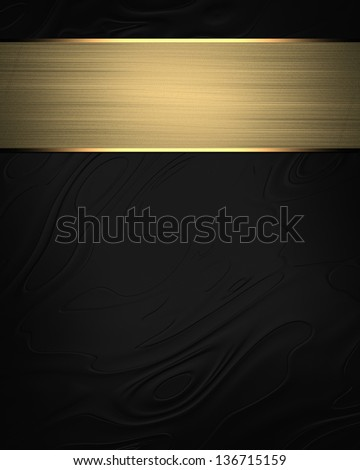 Abstract black background with a plate with golden trim. Design template
