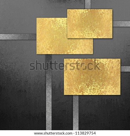 abstract black background with black and white ribbon stripes and elegant blank gold background squares for text or title for web template layout design or brochure ad or labels for paper or scrapbook