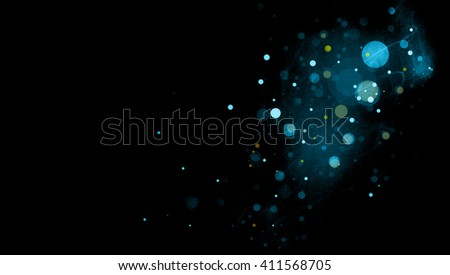 abstract black background with blue circles or bubbles floating in space with textured mist or scratch texture areas in soft blurred design - Shutterstock ID 411568705