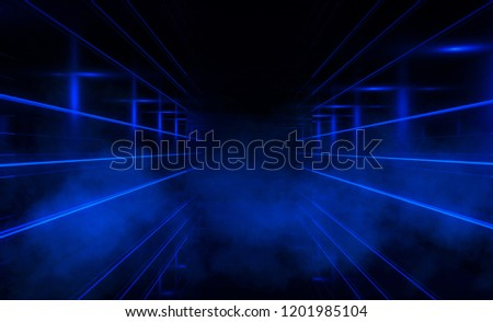 Abstract black background with neon lights, lines and lights. Background of an empty dark room with neon light
