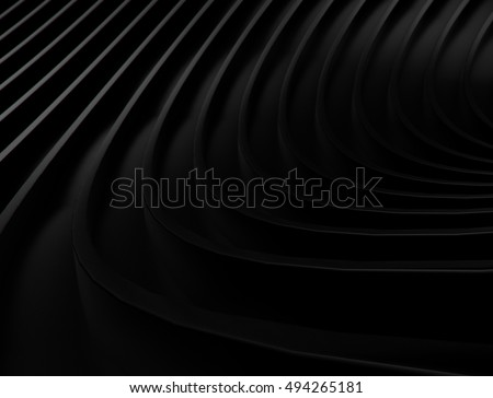 abstract black background with smooth lines. 3d rendering geometric polygons.