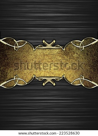 Abstract black background with white stripes with a gold plate with gold trim. Design template. Design site