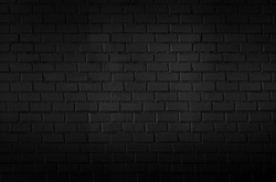 Abstract black brick wall pattern background and black backdrop, Blank copy space.