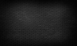 Abstract black brick wall texture for background pattern , brick surface backgrounds. Vintage floor wallpaper. panorama picture.