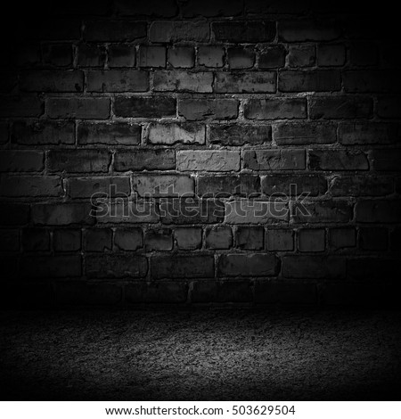Abstract black cement brick with border black vignette background Studio backdrop - well use as back drop background, black board, black studio background, black gradient frame.